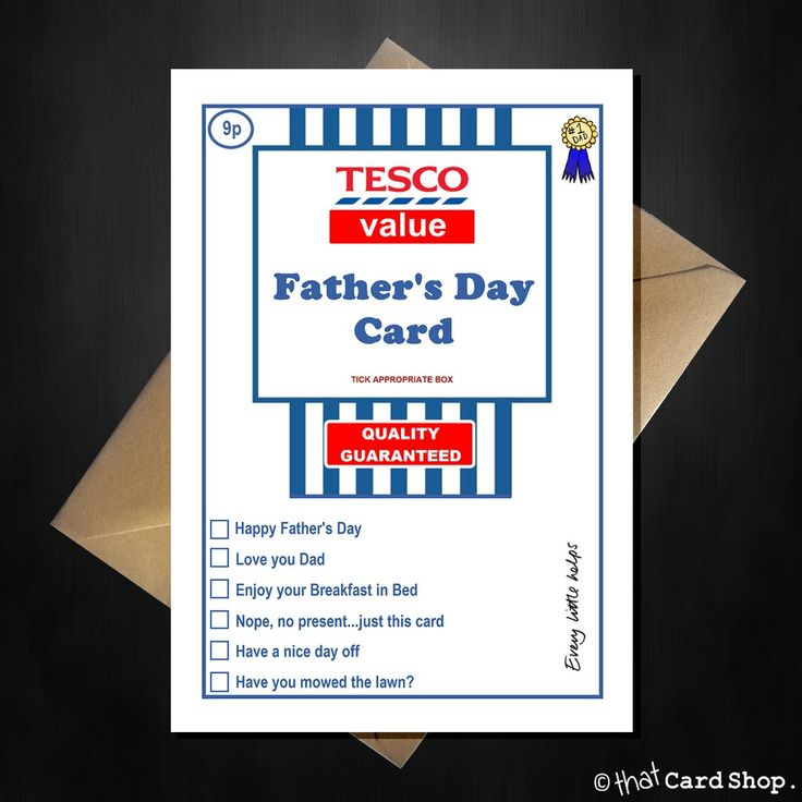 TESCO Value Fathers Day Card - Funny Supermarket Spoof Joke Father's Dad A5
