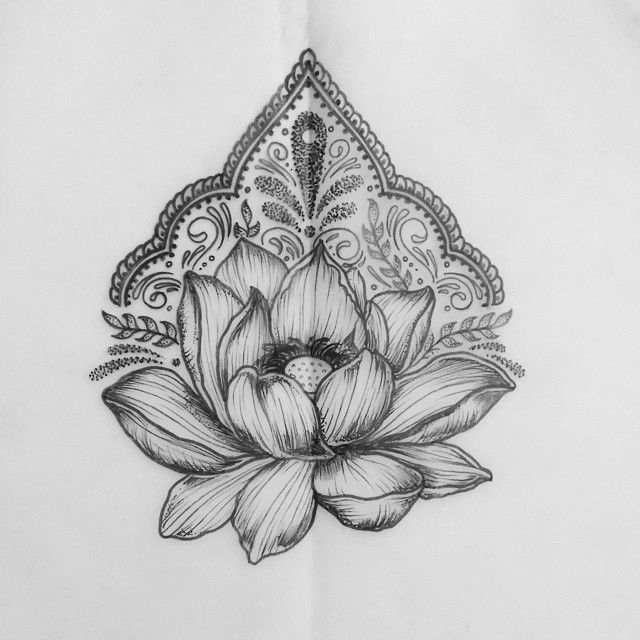 Lotus and patternwork design available to tattoo! Email bethanielwilson@gmail.com to book an…