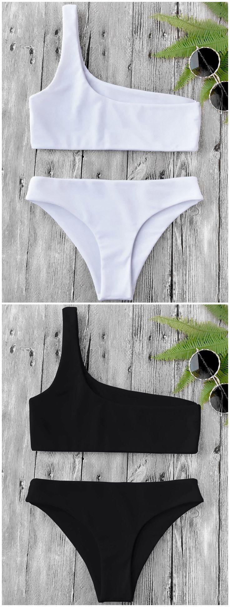 Up to 80% OFF!  One Shoulder Bikini Set. #Zaful #swimwear Zaful, zaful bikinis, zaful dress, zaful swimwear, fashion, style, outfits, women fashion, summer outfits, swimwear, bikinis, micro bikini, high waisted bikini, halter bikini, crochet bikini, one piece swimwear, tankini, bikini set, cover ups, bathing suit, swimsuits, summer fashion, summer outfits, Christmas, ugly Christmas, Thanksgiving, gift, Christmas hoodies, Black Friday, Cyber Monday @zaful Extra 10% OFF Code:ZF2017
