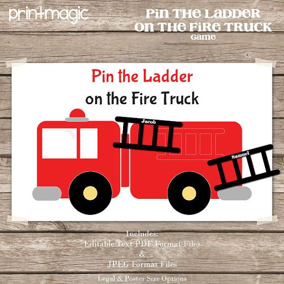 Pin the Ladder on the FIre Truck https://www.etsy.com/listing/168591783/instant-download-pin-the-ladder-on-the
