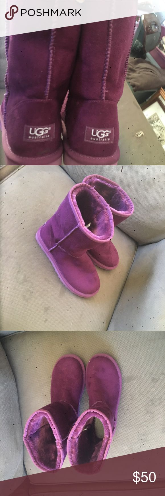 Purple uggs Size 7 adults. Got them as a gift last Christmas but they were too small. Worn once by my cousin inside the house as slippers because her feet were cold. Make an offer if you like them! UGG Shoes