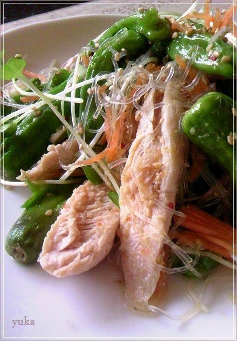レシピ】鶏胸肉とししとうの春雨サラダ : YUKA'sレシピ♪ e0274872_1934635.jpg