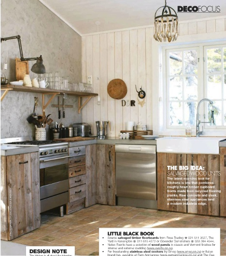 Reclaimed Wood Kitchen Cabinets: Salvaged Wood Cabinets Via Elle Decoration SA
