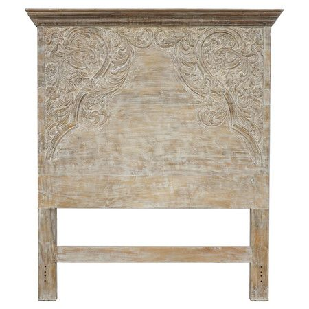 Mango Wood Headboard With Hand Carved Detailing And A