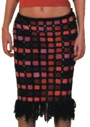 Платье юбка из квадратиков крючком