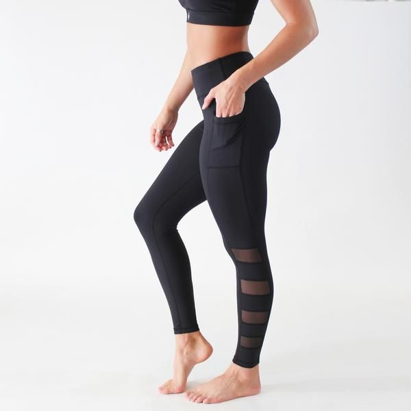 These sleek compression leggings have a low-profile mesh detail that enhance breathability and modern style.  Fit and Product Details  2 side pockets; fits most phones perfectly (iPhone 5, 6, 6+, Galaxy S7) Hidden key pocket on waistband Breathable crotch gusset Tagless  Extra Small: 0-2 Small: 4-6 Medium: 8-10 Large: 12-14 Extra Large: 16 In between sizes? Size up.  Fabric and Care  Nylon/Spandex, mesh detail on pocket and leg Lightweight, breathable, squat proof Mid-rise sits 2 fingers…
