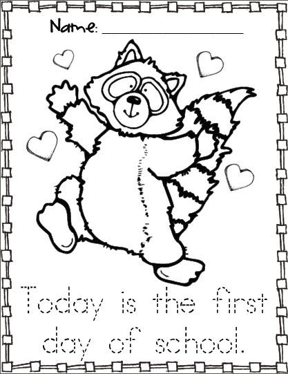 Kissing Hand activities: FREE Chester the raccoon coloring page. First day of school with The Kissing Hand story. by lee
