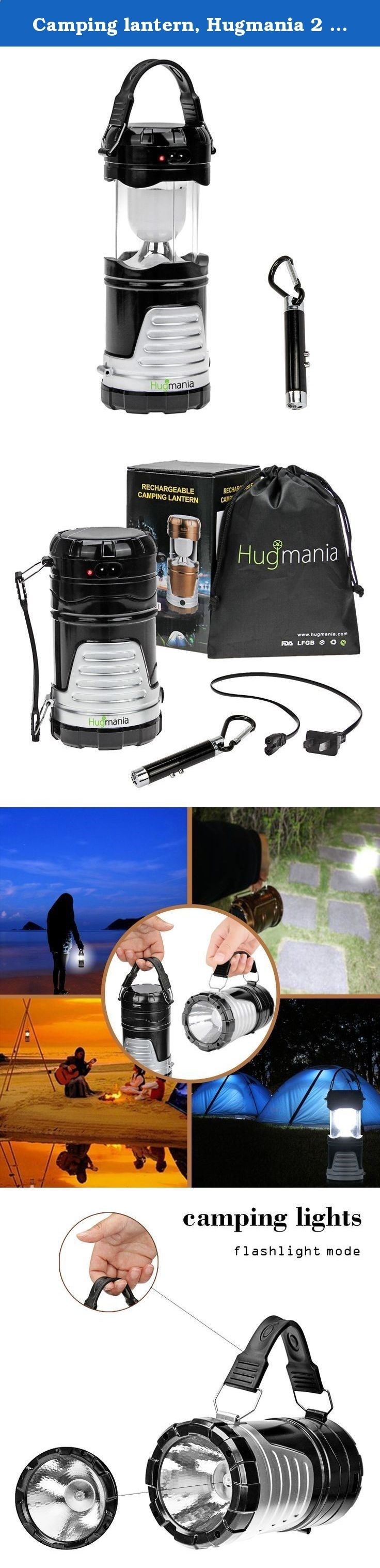 Camping lantern, Hugmania 2 in 1 Ultra Bright Solar Rechargeble LED Camp Light and Handheld Flashlight Emergency USB Charging, Free Bonus Mini Torch (Black). Hugmania 2 in 1 Ultra Bright Solar Rechargeble LED Camping Lantern and Handheld Flashlight This Camping Light is Collapses, Super Bright, LightWeight, Water Resistant, Lantern Flashlight are Suitable for: Hiking, Camping, Emergencies, Hurricanes, Outages. It features 6 energy saving LED bulbs, yielding 360° of high-intensity...