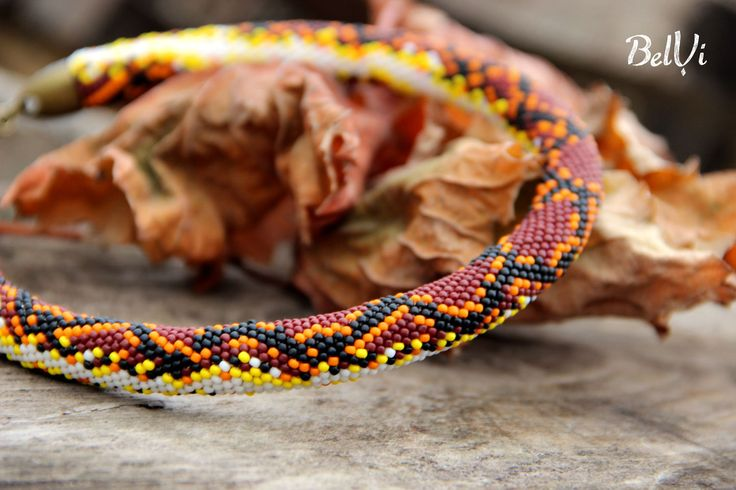 """Купить Жгут на шею """"Теплый Питон"""" - коричневый, питон, змеиный принт, змеиный рисунок, осенний"""