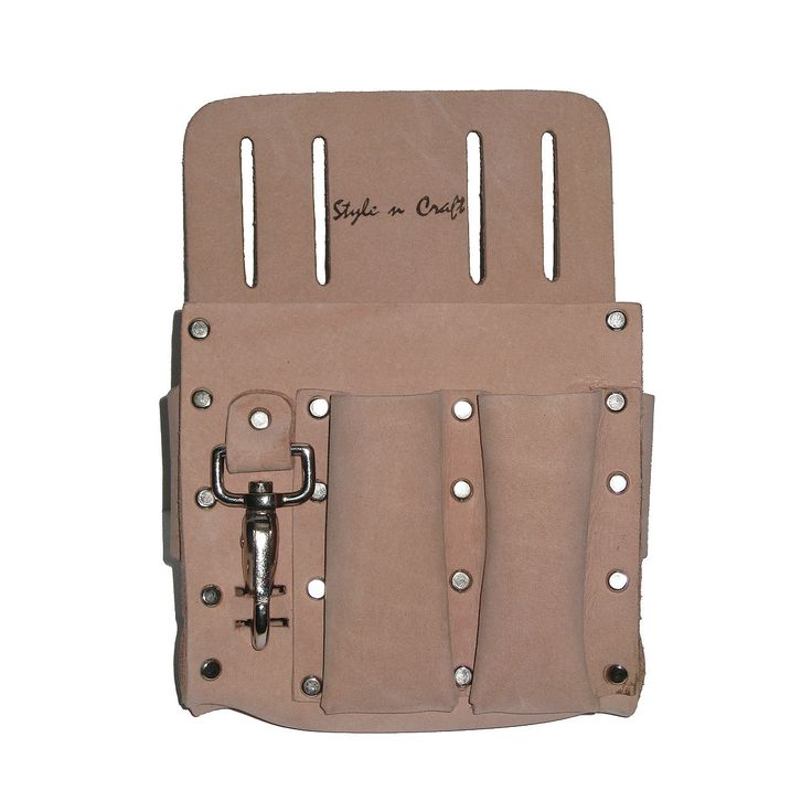 """94126 - 5 Pocket Electrician's Tool Pouch in Heavy Top Grain Leather. 5 pocket electrician's tool pouch Heavy top grain leather 5 front & side pockets for pliers, flashlight & other tools Snap for knife, keys, etc. Rivets with caps for safety Fits belt size up to 2"""" wide"""