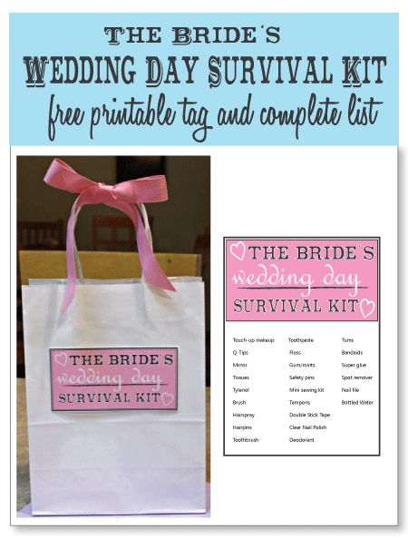 The Brides Wedding Day Survival Kit Free Printable Tag