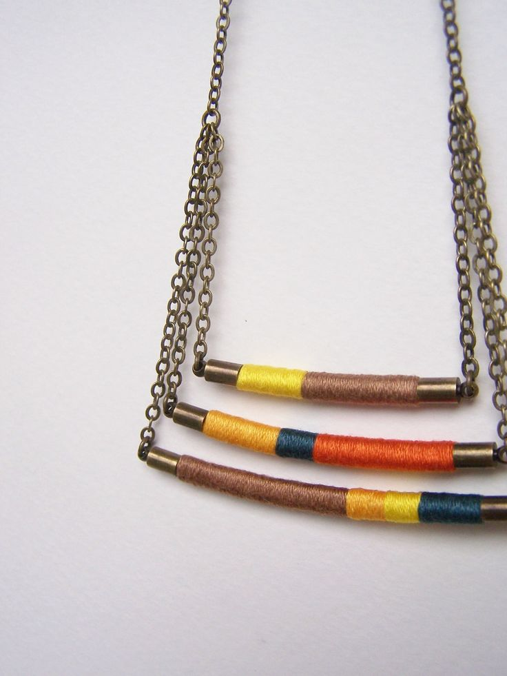 swing tier DAVIS necklace textile and leather by OrangeistheSun