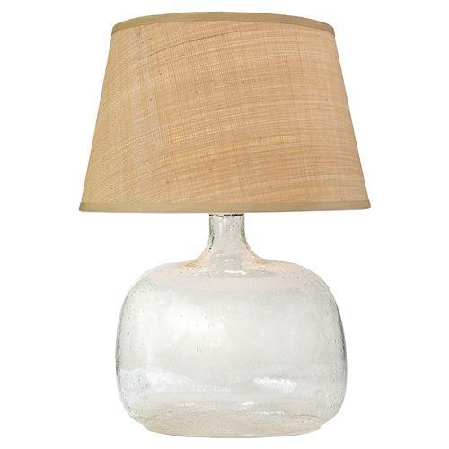 Edgewater coastal beach clear seeded glass table lamp