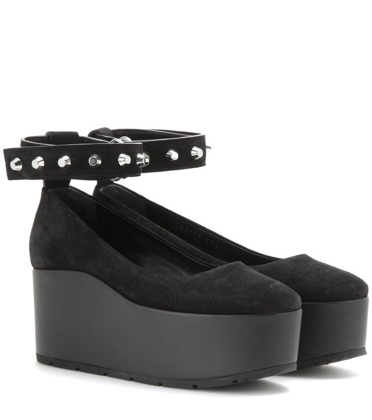 Schwarze Wedge-Sandalen aus Veloursleder By Balenciaga