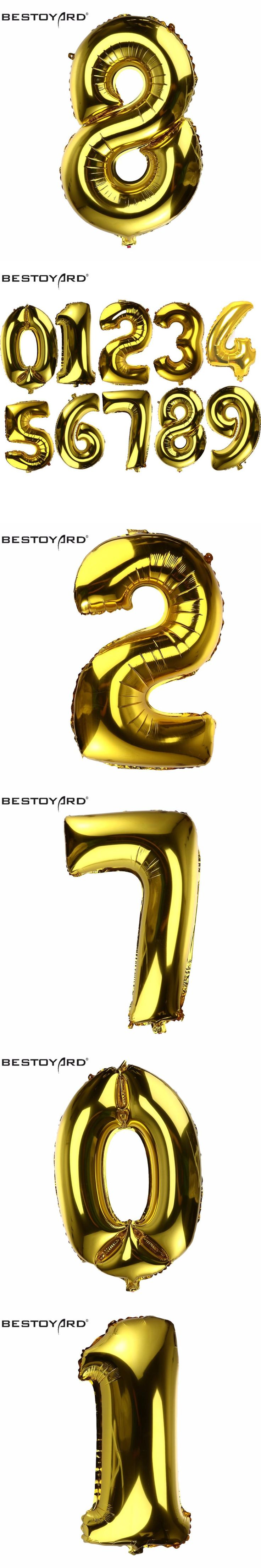 32 Inch 0-9 Number Aluminum Foil Gold Balloon Big Size Helium Balloons Birthday Wedding Party Decoration Celebration Supplies