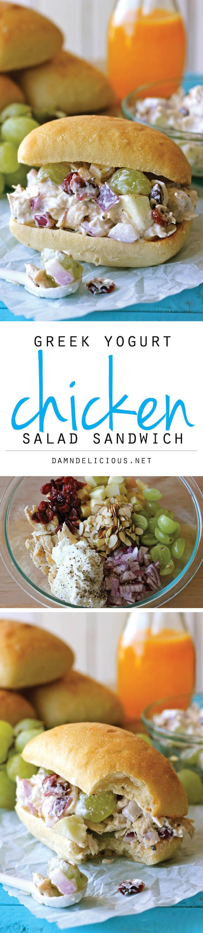 Greek Yogurt Chicken Salad Sandwich. Did I say I LOVE chicken salad??? I'd leave out the onions because I leave out the onions in everything.