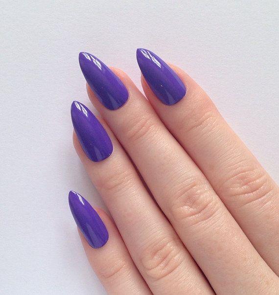 Purple stiletto nails Nail designs Nail art by prettylittlepolish