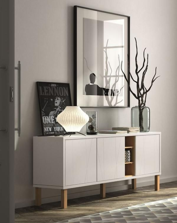 Niche 3 door sideboard in pure white and oak with etched doors and wood legs #home #interior #contemporaryfurniture #furniture #modernfurniture #design #temahome