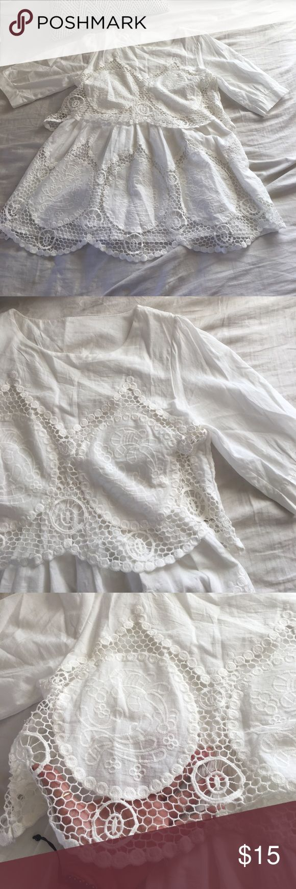 || Petite Summer Crochet Dress || Bought online but it's very petite. I'm 5 ft and it's barely below my butt. For someone shorter or can be styled with something longer underneath! The crochet was very weak towards the button of the skirt. Was sewn with a light beige. Barely noticeable. Never worn. No tag. Dresses Mini