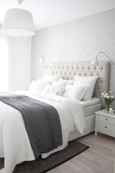 Calming, Clean and Elegant Bedroom Decorating Ideas! The Subtle Gray Damask Wallpaper is Gorgeous!