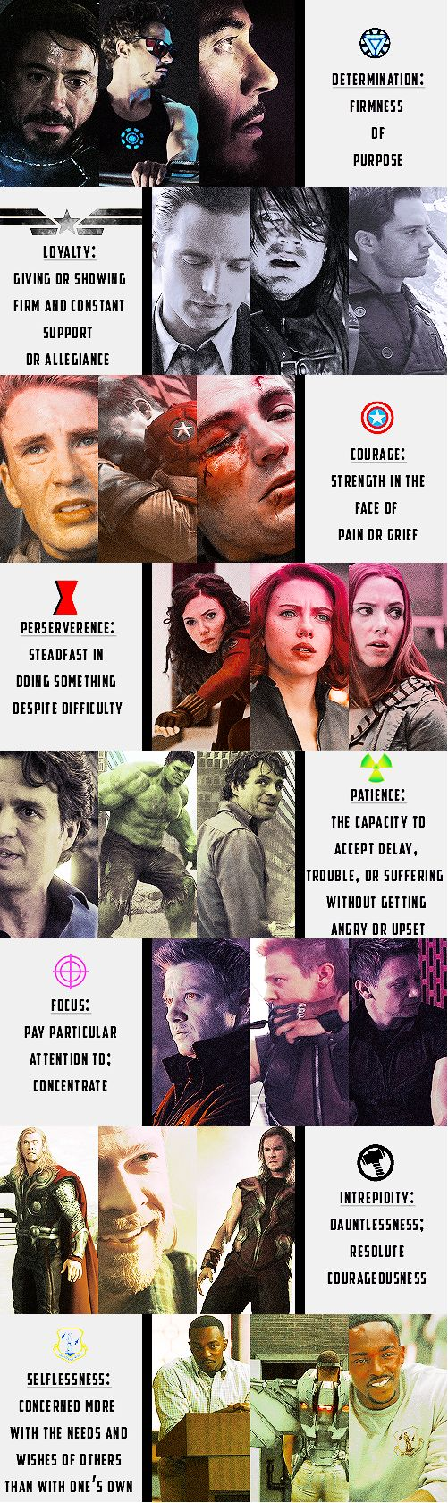 Qualities of a Hero, Avengers style. I try to explain this to people who say the idea of superhero comics is stupid. They arent just pretty boys in fitted suits. THEY STAND FOR SOMETHING.