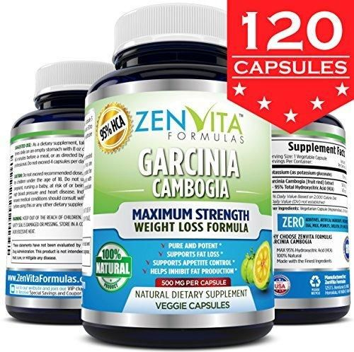 Pure Garcinia Cambogia Extract 95% HCA - 120 Capsules - Highest Potency Powerful NEW and IMPROVED Formula Maximum Strength Natural Weight Loss Supplement Appetite Suppressant Fat Burner