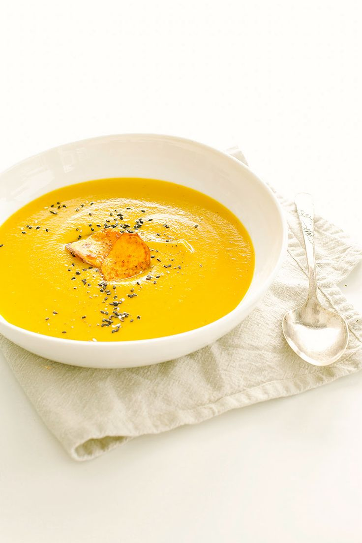 Sweet Potato Soup with Coriander and Blood Orange