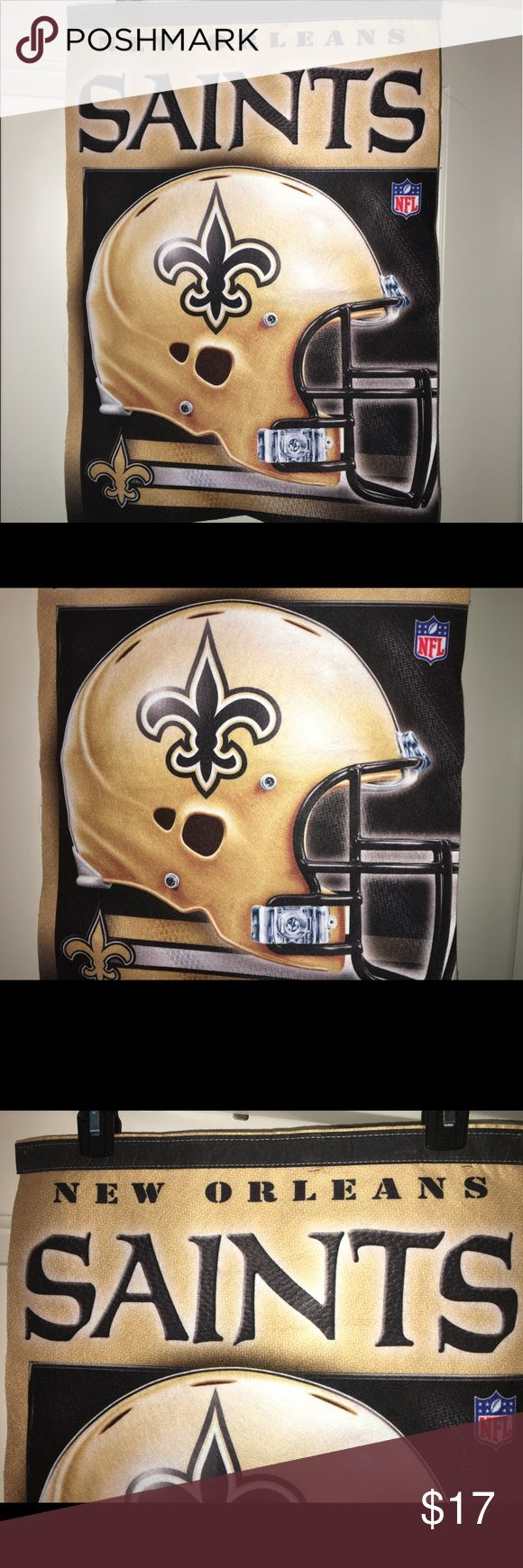 """New Orleans Saints team banner pennant flag Thank you for doing my listing, for sale is a NFL, New Orleans saints, approximately 17"""" x 26"""" team flag/Banner. No rips or stains. If you have any questions or would like additional photos please feel free to ask.  This would be great in a child's room, dorm room, hanging in your front window letting the neighborhood and know that you are a Saints fan!  #WhoDatNation NFL Accessories"""