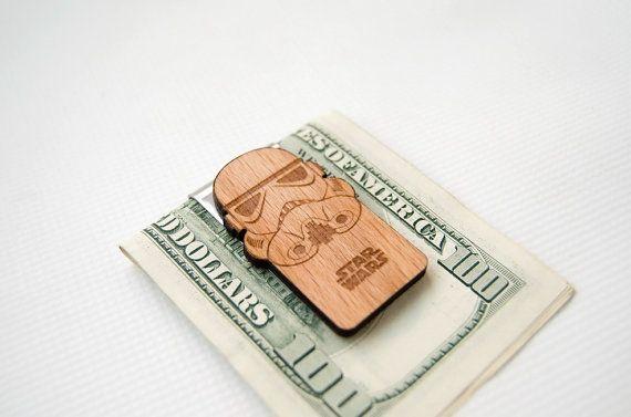 Star wars Money Clip Stormtrooper, wooden money clip, Birthday gift for him