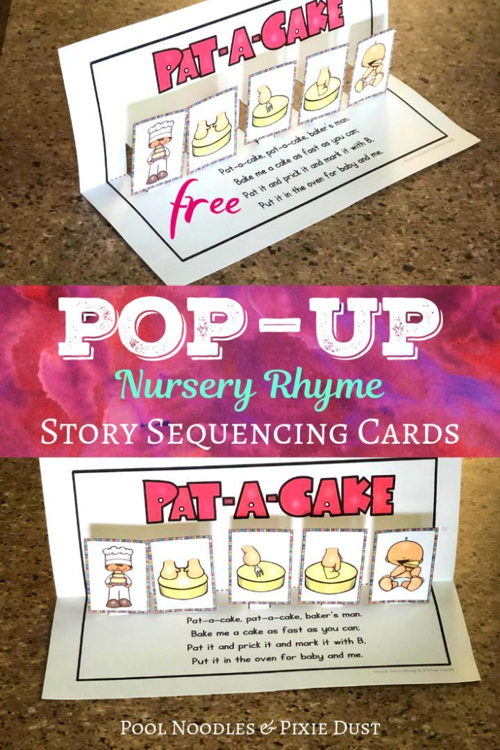 Pat A Cake Pop Up Sequencing Cards Pool Noodles Pixie Dust