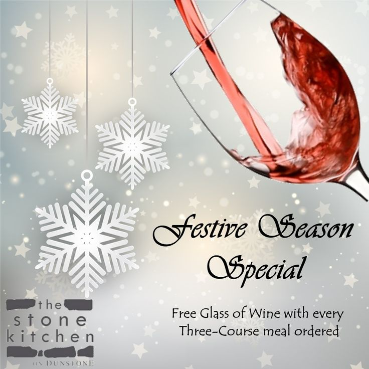 Come enjoy a #Free glass of wine with your 3 course dinner at The Stone Kitchen. Booking essential
