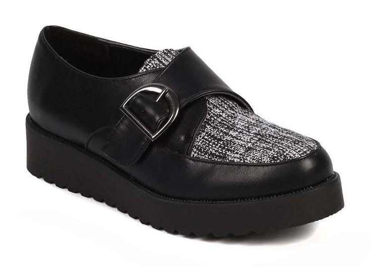 Leatherette Almond Toe Monk Strap Tweed Flatform Creeper Oxford