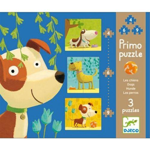 Puzzle Primo Chien - 4,6 et 9 pièces3 puzzles avec un niveau de difficulté croissant.Grosses pièces de puzzle faciles à manipuler.Age : 2 ans et plus.