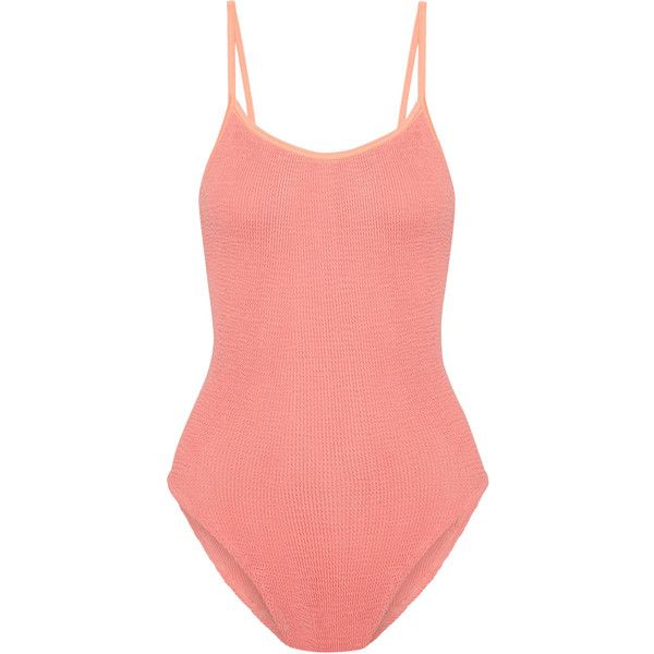 HUNZA G Seersucker swimsuit ($195) ❤ liked on Polyvore featuring swimwear, one-piece swimsuits, coral, bathing suit swimwear, swim suits, seersucker bathing suit, seersucker swimsuit and 80s one piece swimsuit