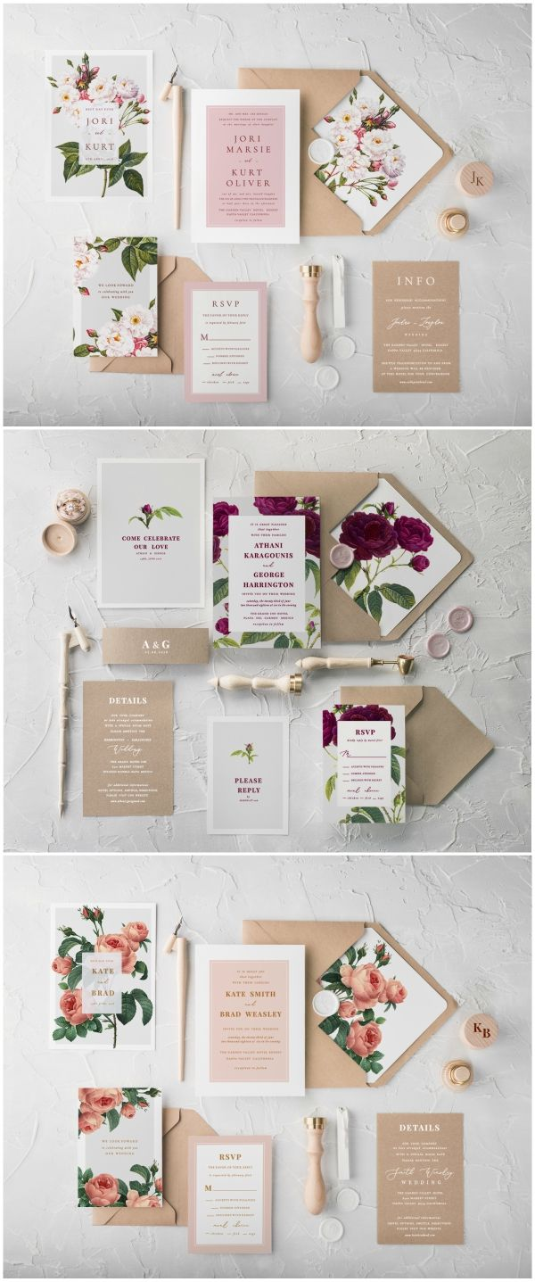 white and gold wedding invitations%0A Beautiful Botanical Calligraphy wedding invitations  Simple and classic  design combines a romantic patterns with eco