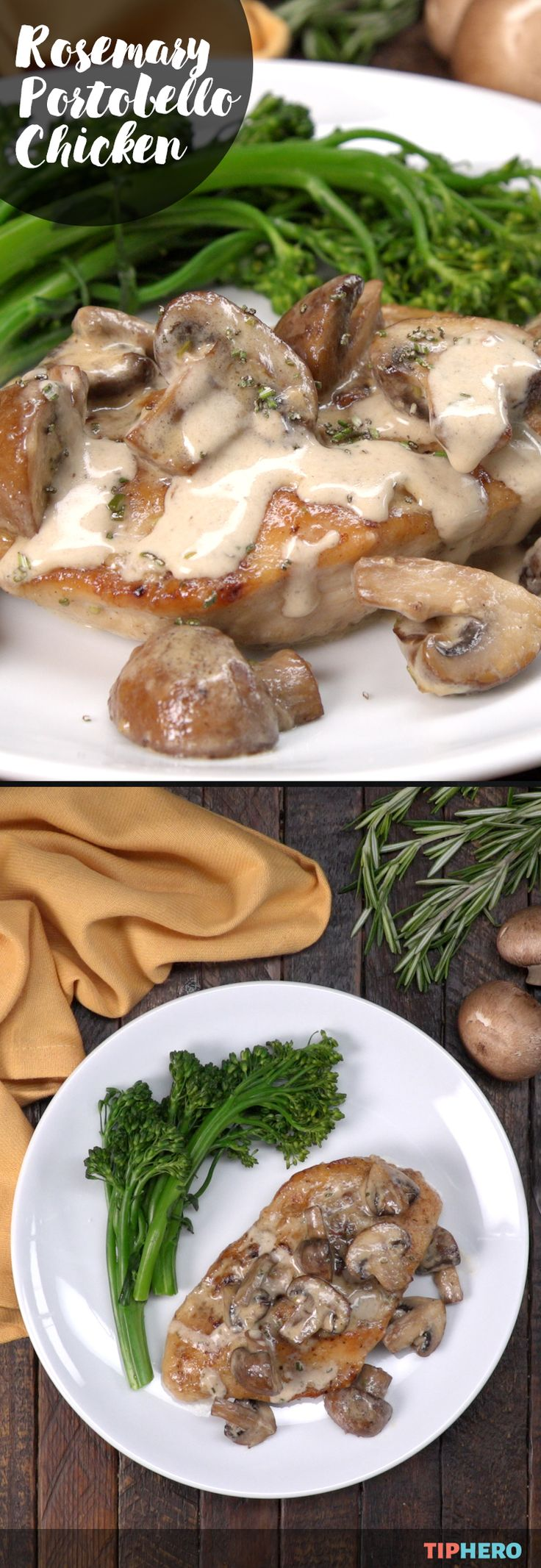 Here's a simple chicken dinner recipe that's full of creamy rich flavor - Rosemary Portobello Chicken. With basic ingredients - chicken, portobello or cremini mushrooms, rosemary, garlic, parsley, heavy cream and chicken stock, it requires about ten minutes to prep adn 40 to cook.  Bonus: you can make it all in just one skillet! Let us show you how, click for the full recipe and video.