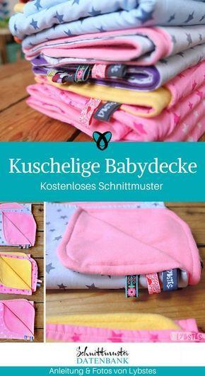 Kuscheldecke Babydecke Decke für Babies nähen kostenloses Schnittmuster gratis…