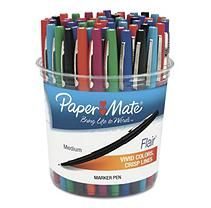 Paper Mate - Flair Felt Tip Marker Pen, Assorted Ink, Medium -  48 Pens/Set