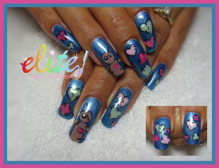 Nails nail art Valentine nails alternative Voodoo doll broken hearts mended Waterpark blue CND Shellac hand painted