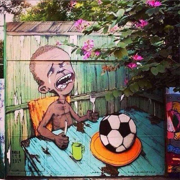 「アンチ・ワールドカップ2014」の落書きアート14選