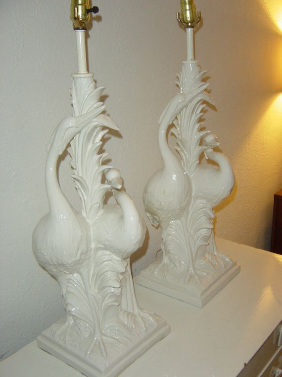 These are mine!!!  I have longed for them for a year…it was meant to be!!!  Fabulous pair of unique Vintage Egrets Palm Beach Hollywood Regency style lamps on HOLD