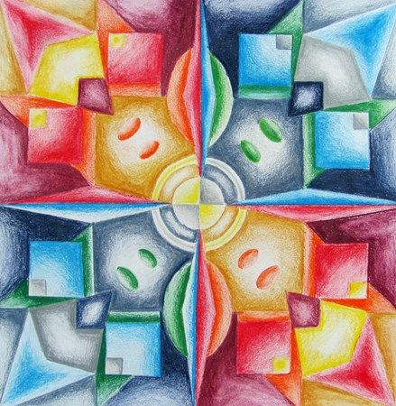 Art Ed Central loves: Colored Pencil Radial Design w/ Gradient - Conway High School Art Project