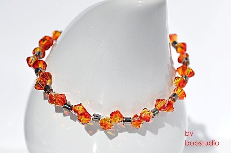 Swarovski bicone bracelet - delikatna bransoletka z kryształów SWAROVSKIEGO - BICONE FIREOPAL i japońskich koralików MIYUKI. www.facebook.com/BooStudioHandMade