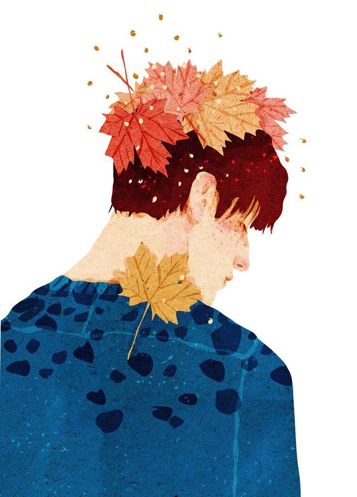 La repetición y variedad de las formas présentés forman una unidad que tiene relación, junto con la expresión del personaje. Hay presencia de ritmo en las hojas. Y la paleta de col roes saturados con unos menos intensos le dan una vista bastante agradable. El fondo ayuda a resaltar estos colores