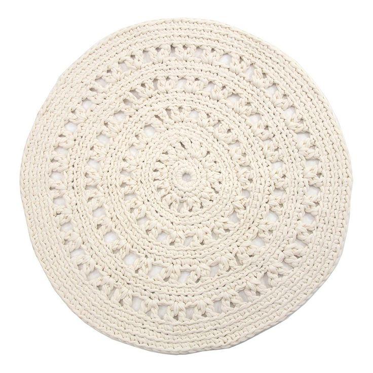 naco tapis rond crochet ecru - Tapis Rond Color