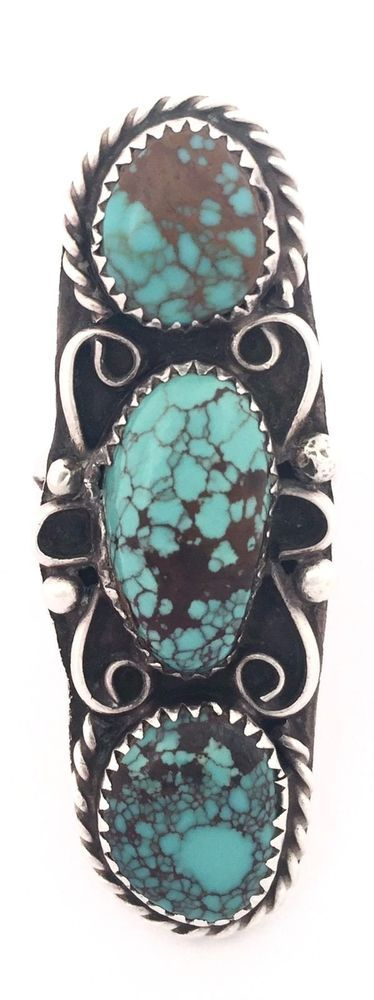 Navajo Vintage Sterling Silver w/ High Grade Turquoise Ring Size 7.25 #Unbranded