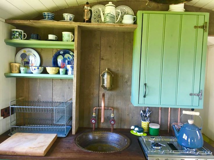 The hut is furnished in a reclaimed, rustic style