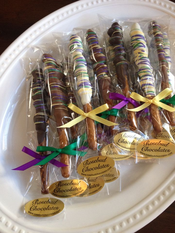 Assorted Chocolate Dipped Caramel Twist Pretzels... Yellow, Purple & Green... Mardi Gras Candy Favors... www.rosebudchocolates.com