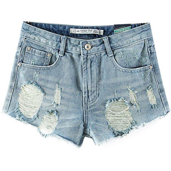 Chicnova Fashion Ripped Denim Shorts ($19) ❤ liked on Polyvore featuring shorts, bottoms, short, pants, torn shorts, destroyed denim shorts, ripped shorts, distressed jean shorts and short shorts