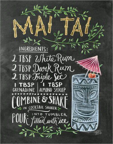 MAI TAI Recipe... [Chalkboard art] - great menu desin idea!